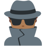 Man Detective: Medium-Dark Skin Tone on Twitter Twemoji 12.0