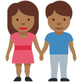 Woman and Man Holding Hands: Medium-Dark Skin Tone on Twitter Twemoji 12.0
