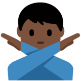 Man Gesturing No: Dark Skin Tone on Twitter Twemoji 12.0