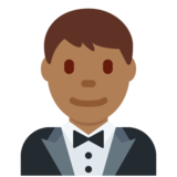 Man in Tuxedo: Medium-Dark Skin Tone on Twitter Twemoji 12.0