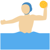 Man Playing Water Polo: Medium-Light Skin Tone on Twitter Twemoji 12.0