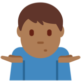 Man Shrugging: Medium-Dark Skin Tone on Twitter Twemoji 12.0