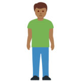 Man Standing: Medium-Dark Skin Tone on Twitter Twemoji 12.0