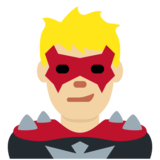 Man Supervillain: Medium-Light Skin Tone on Twitter Twemoji 12.0