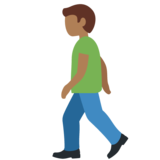 Man Walking: Medium-Dark Skin Tone on Twitter Twemoji 12.0