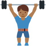 Man Lifting Weights: Medium-Dark Skin Tone on Twitter Twemoji 12.0