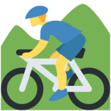 Person Mountain Biking on Twitter Twemoji 12.0