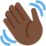Waving Hand: Dark Skin Tone on Twitter Twemoji 12.0