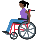 Woman in Manual Wheelchair: Dark Skin Tone on Twitter Twemoji 12.0
