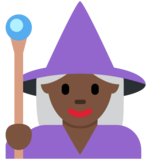 Woman Mage: Dark Skin Tone on Twitter Twemoji 12.0