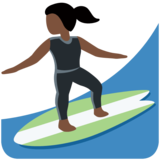Woman Surfing: Dark Skin Tone on Twitter Twemoji 12.0