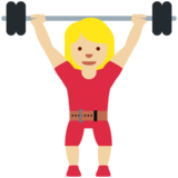 Woman Lifting Weights: Medium-Light Skin Tone on Twitter Twemoji 12.0