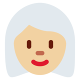 Woman: Medium-Light Skin Tone, White Hair on Twitter Twemoji 12.0