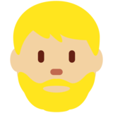 Man: Medium-Light Skin Tone, Beard on Twitter Twemoji 11.4
