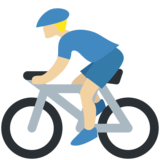 Person Biking: Medium-Light Skin Tone on Twitter Twemoji 11.4
