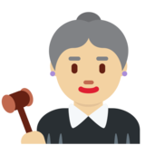 Woman Judge: Medium-Light Skin Tone on Twitter Twemoji 11.4
