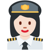 Woman Pilot: Light Skin Tone on Twitter Twemoji 11.4