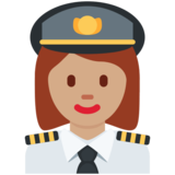 Woman Pilot: Medium Skin Tone on Twitter Twemoji 11.4