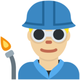 Man Factory Worker: Medium-Light Skin Tone on Twitter Twemoji 11.4