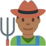 Man Farmer: Medium-Dark Skin Tone on Twitter Twemoji 11.4