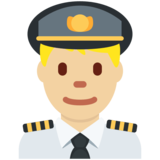 Man Pilot: Medium-Light Skin Tone on Twitter Twemoji 11.4