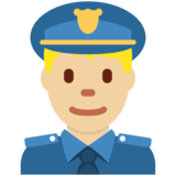 Man Police Officer: Medium-Light Skin Tone on Twitter Twemoji 11.4