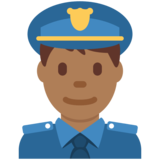 Man Police Officer: Medium-Dark Skin Tone on Twitter Twemoji 11.4