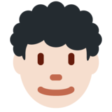Man: Light Skin Tone, Curly Hair on Twitter Twemoji 11.4