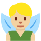 Man Fairy: Medium-Light Skin Tone on Twitter Twemoji 11.4