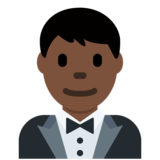 Man in Tuxedo: Dark Skin Tone on Twitter Twemoji 11.4