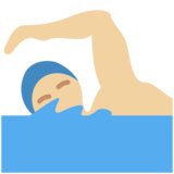 Man Swimming: Medium-Light Skin Tone on Twitter Twemoji 11.4