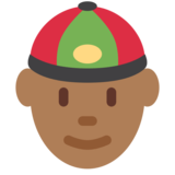 Man With Chinese Cap: Medium-Dark Skin Tone on Twitter Twemoji 11.4