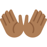Open Hands: Medium-Dark Skin Tone on Twitter Twemoji 11.4