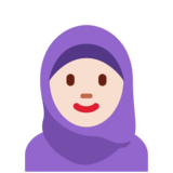 Woman With Headscarf: Light Skin Tone on Twitter Twemoji 11.4
