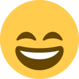 Grinning Face with Smiling Eyes on Twitter Twemoji 11.4