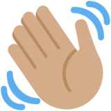 Waving Hand: Medium Skin Tone on Twitter Twemoji 11.4