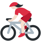 Woman Biking: Light Skin Tone on Twitter Twemoji 11.4