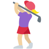 Woman Golfing: Medium-Light Skin Tone on Twitter Twemoji 11.4