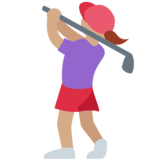 Woman Golfing: Medium Skin Tone on Twitter Twemoji 11.4