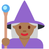 Woman Mage: Medium-Dark Skin Tone on Twitter Twemoji 11.4