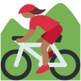 Woman Mountain Biking: Medium-Dark Skin Tone on Twitter Twemoji 11.4
