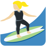 Woman Surfing: Medium-Light Skin Tone on Twitter Twemoji 11.4