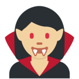 Woman Vampire: Medium-Light Skin Tone on Twitter Twemoji 11.4