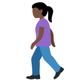 Woman Walking: Dark Skin Tone on Twitter Twemoji 11.4