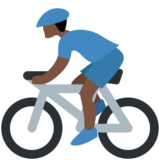 Person Biking: Dark Skin Tone on Twitter Twemoji 12.1