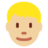 Man: Medium-Light Skin Tone, Blond Hair on Twitter Twemoji 12.1
