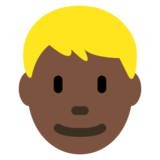 Man: Dark Skin Tone, Blond Hair on Twitter Twemoji 12.1