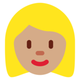 Woman: Medium Skin Tone, Blond Hair on Twitter Twemoji 12.1