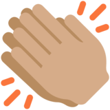 Clapping Hands: Medium Skin Tone on Twitter Twemoji 12.1