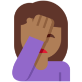 Person Facepalming: Medium-Dark Skin Tone on Twitter Twemoji 12.1